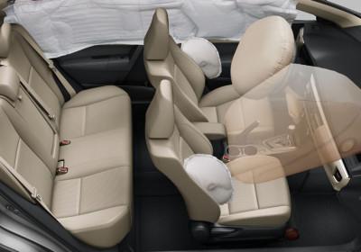 Airbags frontales, laterales, de cortina y de rodilla para el conductor
