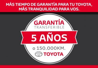 Toyota anunció que todos sus vehículos contarán con una garantía de 5 años o 150.000 kms